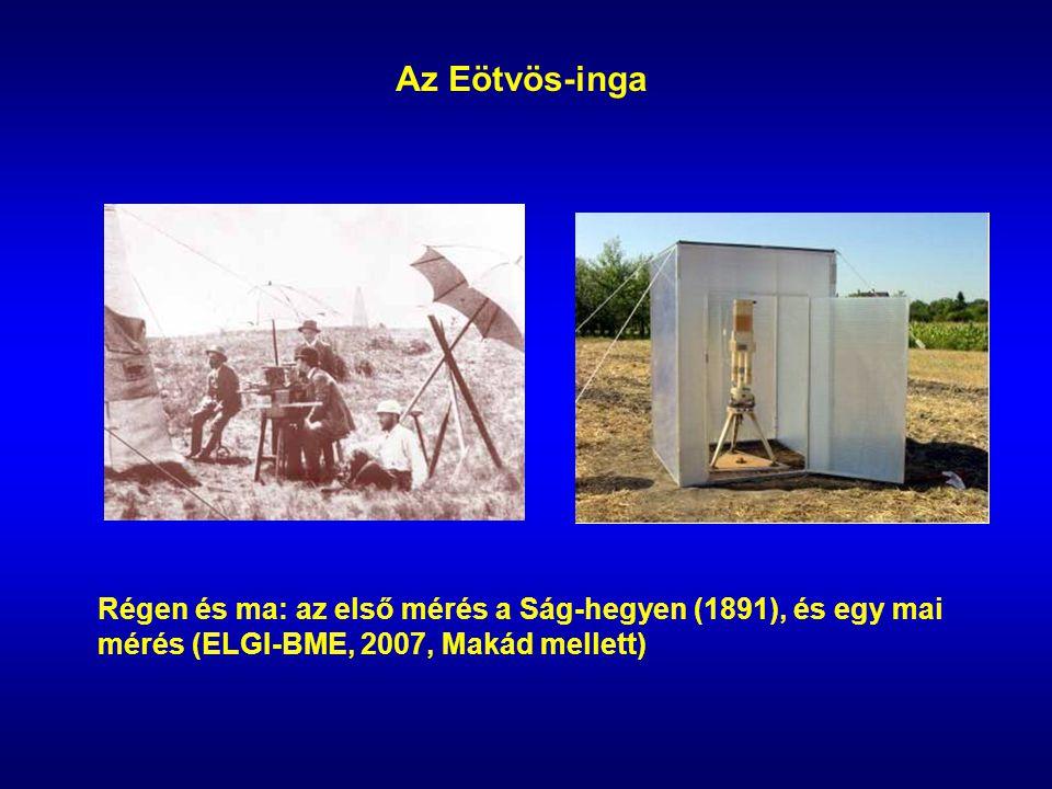 Az Eötvös-inga Régen és ma: az első mérés a Ság-hegyen (1891), és egy mai mérés (ELGI-BME, 2007, Makád mellett)