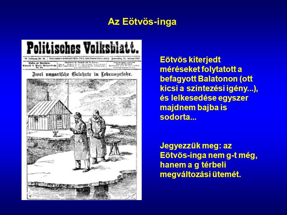 Az Eötvös-inga Eötvös kiterjedt méréseket folytatott a befagyott Balatonon (ott kicsi a szintezési igény...), és lelkesedése egyszer majdnem bajba is