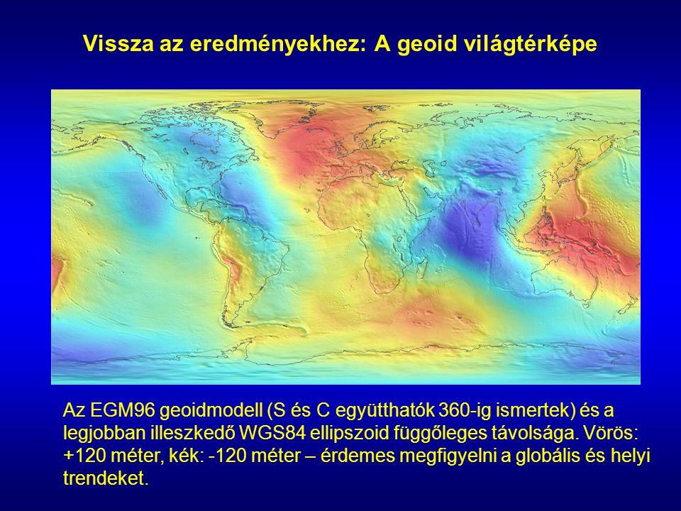 Vissza az eredményekhez: A geoid világtérképe Az EGM96 geoidmodell (S és C együtthatók 360-ig ismertek) és a legjobban illeszkedő WGS84 ellipszoid füg