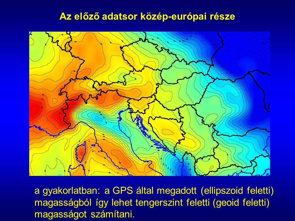 Az előző adatsor közép-európai része a gyakorlatban: a GPS által megadott (ellipszoid feletti) magasságból így lehet tengerszint feletti (geoid felet