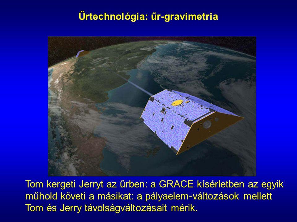Űrtechnológia: űr-gravimetria Tom kergeti Jerryt az űrben: a GRACE kísérletben az egyik műhold követi a másikat: a pályaelem-változások mellett Tom és