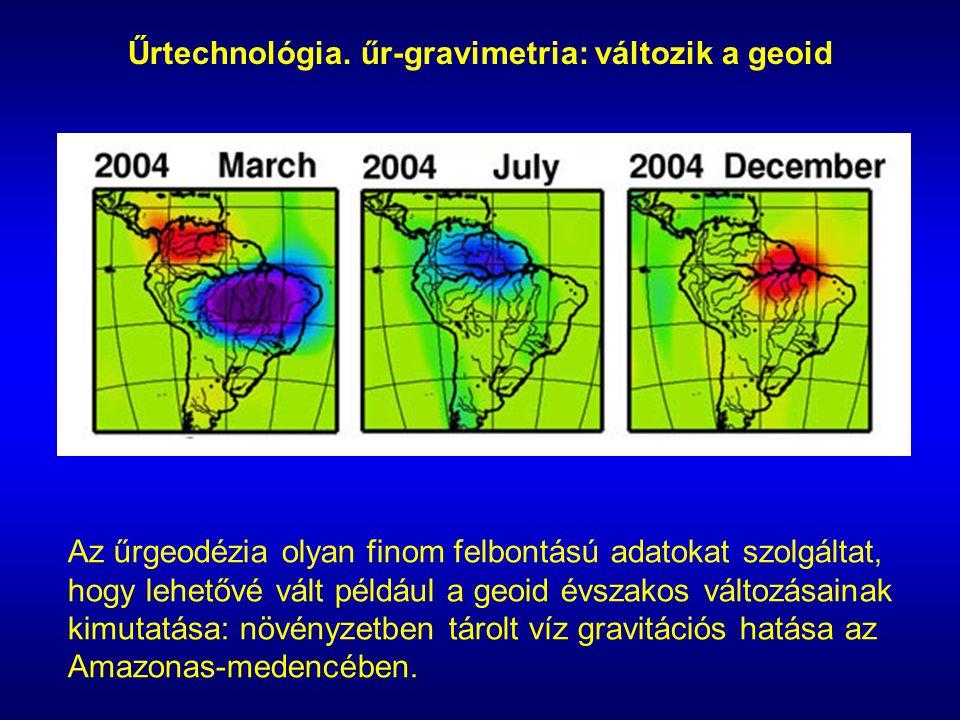 Űrtechnológia. űr-gravimetria: változik a geoid Az űrgeodézia olyan finom felbontású adatokat szolgáltat, hogy lehetővé vált például a geoid évszakos