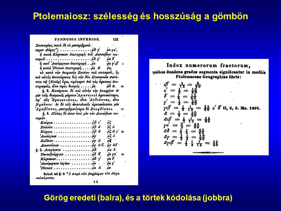 Ptolemaiosz: szélesség és hosszúság a gömbön Görög eredeti (balra), és a törtek kódolása (jobbra)