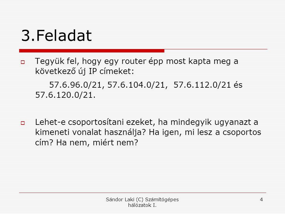 3.Feladat  Tegyük fel, hogy egy router épp most kapta meg a következő új IP címeket: 57.6.96.0/21, 57.6.104.0/21, 57.6.112.0/21 és 57.6.120.0/21.  L