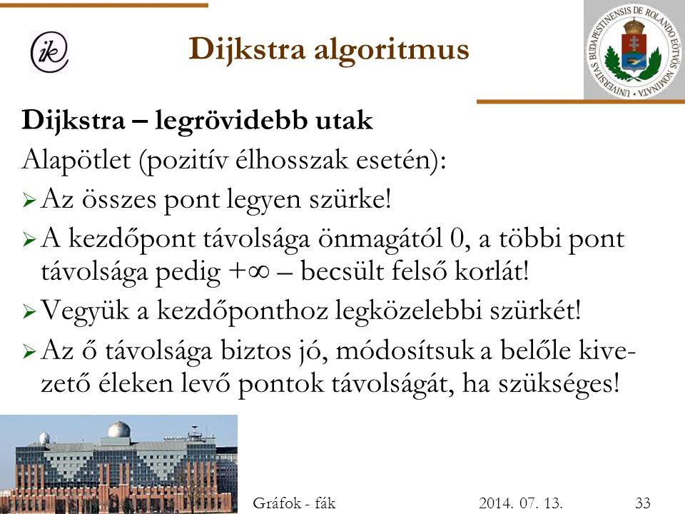 Dijkstra algoritmus Dijkstra – legrövidebb utak Alapötlet (pozitív élhosszak esetén):  Az összes pont legyen szürke!  A kezdőpont távolsága önmagátó