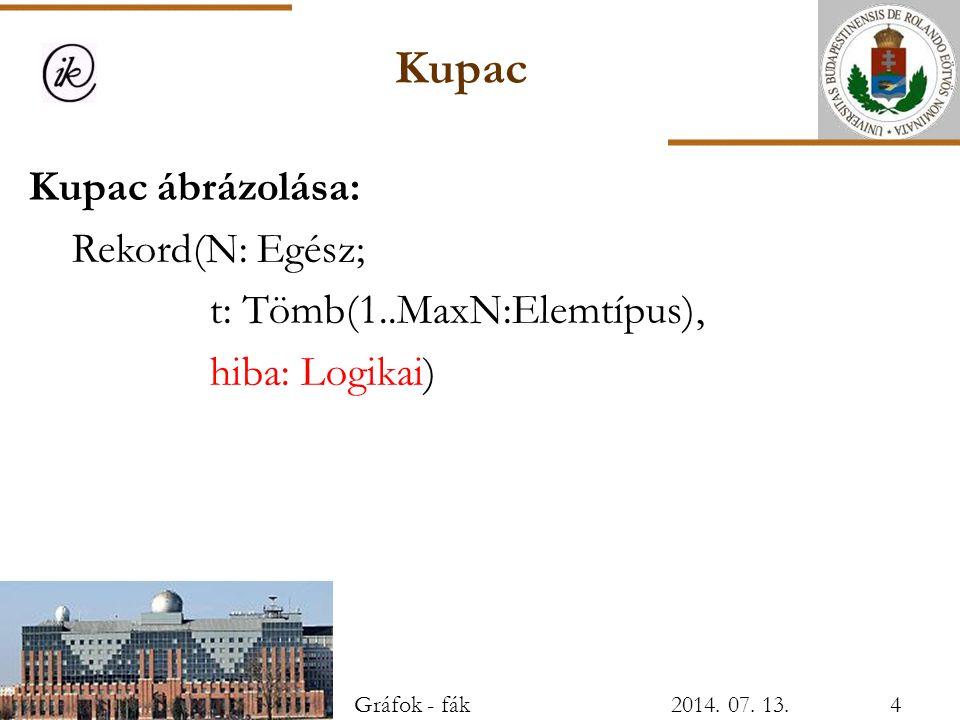 Kupac Kupac ábrázolása: Rekord(N: Egész; t: Tömb(1..MaxN:Elemtípus), hiba: Logikai) Gráfok - fák2014. 07. 13.4