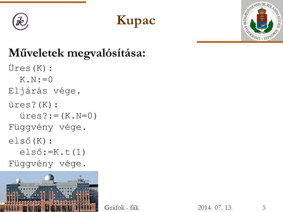 Kupac Műveletek megvalósítása: Üres(K): K.N:=0 Eljárás vége. üres?(K): üres?:=(K.N=0) Függvény vége. első(K): első:=K.t(1) Függvény vége. Gráfok - fák