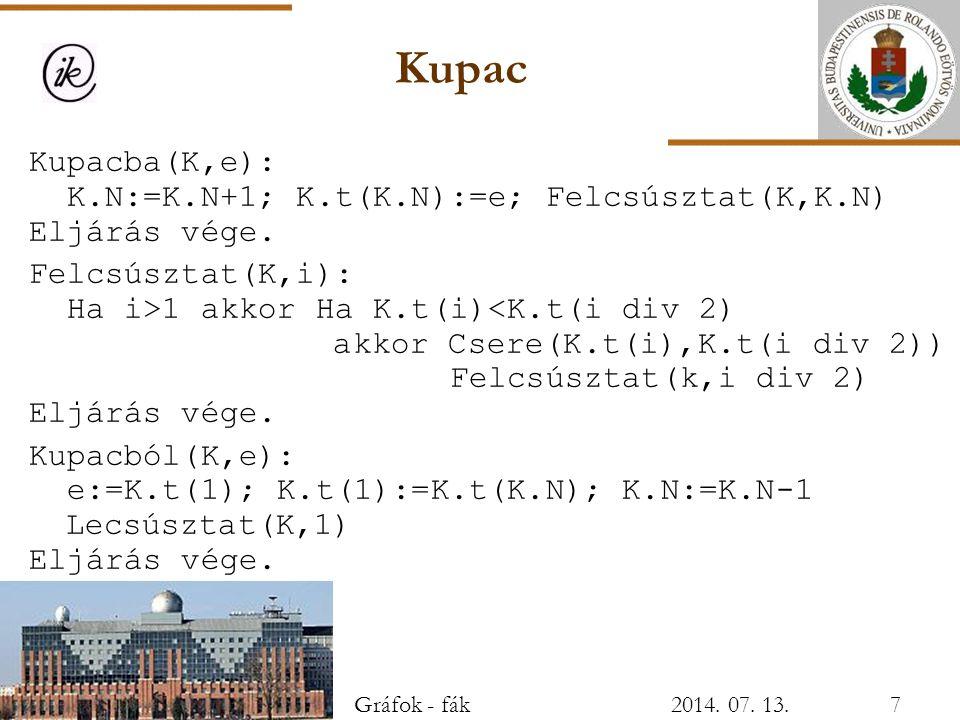 Kupac Kupacba(K,e): K.N:=K.N+1; K.t(K.N):=e; Felcsúsztat(K,K.N) Eljárás vége. Felcsúsztat(K,i): Ha i>1 akkor Ha K.t(i)<K.t(i div 2) akkor Csere(K.t(i)