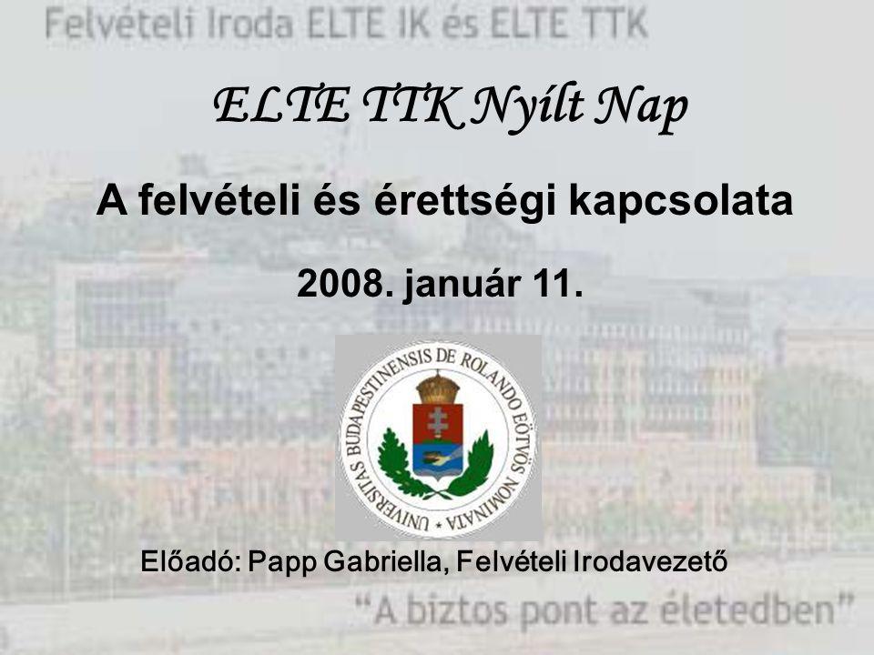A felvételi és érettségi kapcsolata 2008. január 11. Előadó: Papp Gabriella, Felvételi Irodavezető ELTE TTK Nyílt Nap