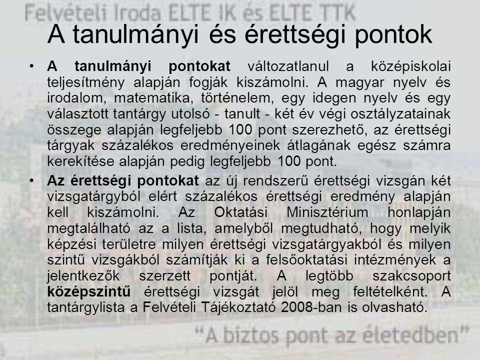 A tanulmányi és érettségi pontok A tanulmányi pontokat változatlanul a középiskolai teljesítmény alapján fogják kiszámolni. A magyar nyelv és irodalom