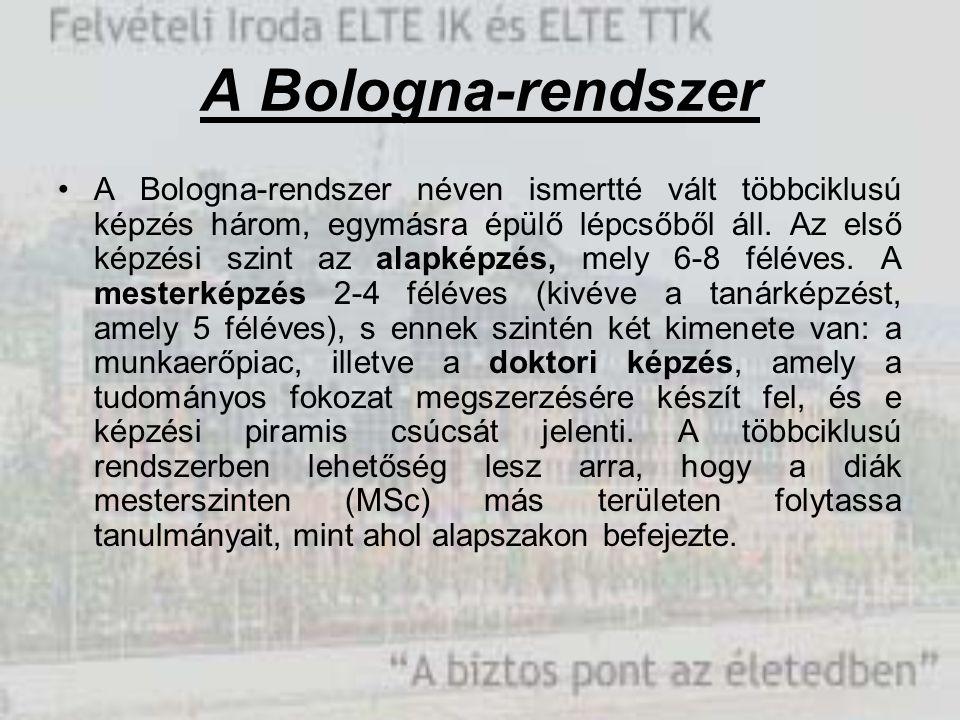 A Bologna-rendszer A Bologna-rendszer néven ismertté vált többciklusú képzés három, egymásra épülő lépcsőből áll. Az első képzési szint az alapképzés,
