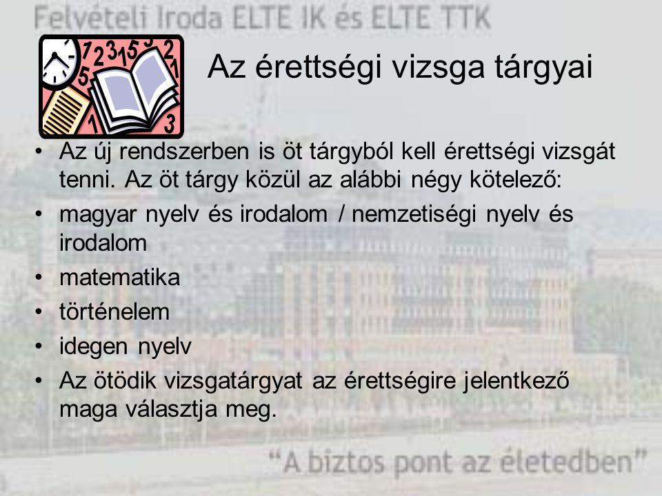 Az érettségi vizsga tárgyai Az új rendszerben is öt tárgyból kell érettségi vizsgát tenni. Az öt tárgy közül az alábbi négy kötelező: magyar nyelv és