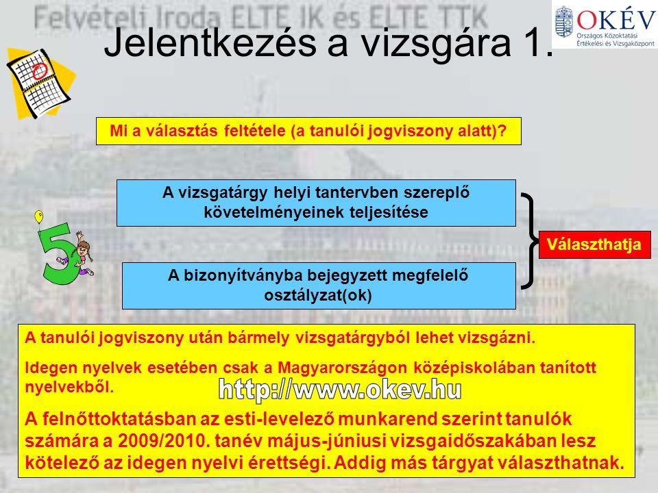 Elérhetőségek Országos Felsőoktatási Információs Központ (06-1-411-31-31, www.felvi.hu) Országos Közoktatási Értékelési és Vizsgaközpont (06-1-474-70-34, www.okev.hu) Bursa Hungarica (06-1-301-32-66, bursa@bursa.hu) Felvételi Iroda ELTE-IK és ELTE-TTK (06-1-372-25-66, http//:ttkto.elte.hu/felveteli/index.htm