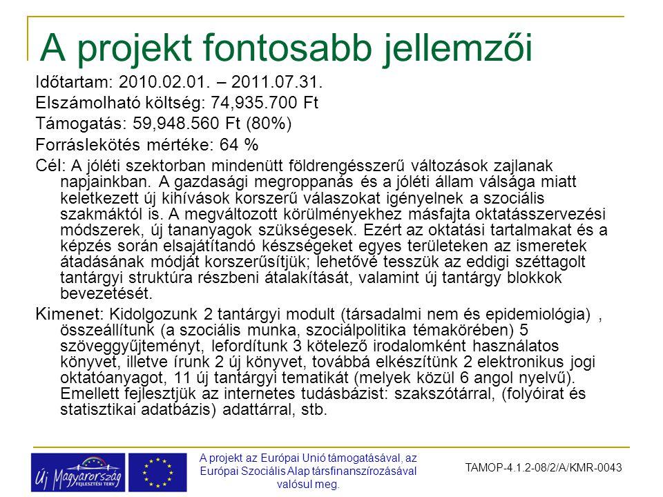 A projekt fontosabb jellemzői A projekt az Európai Unió támogatásával, az Európai Szociális Alap társfinanszírozásával valósul meg. TAMOP-4.1.2-08/2/A