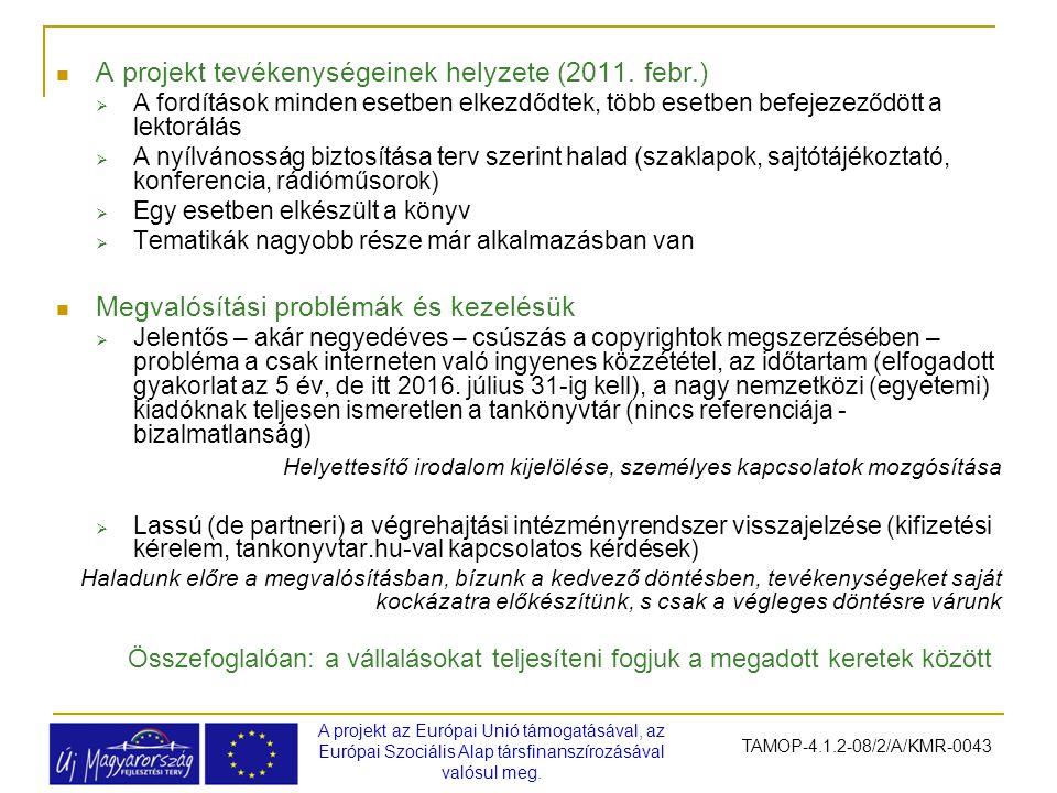 A projekt tevékenységeinek helyzete (2011. febr.)  A fordítások minden esetben elkezdődtek, több esetben befejezeződött a lektorálás  A nyílvánosság