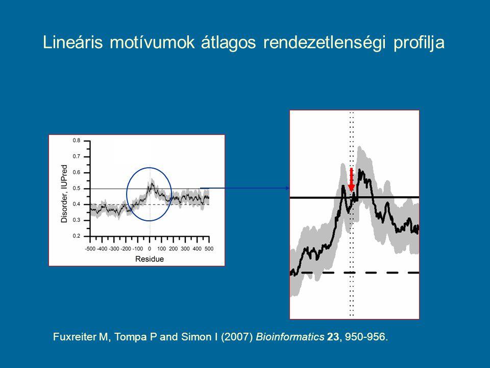 Lineáris motívumok átlagos rendezetlenségi profilja Fuxreiter M, Tompa P and Simon I (2007) Bioinformatics 23, 950-956.