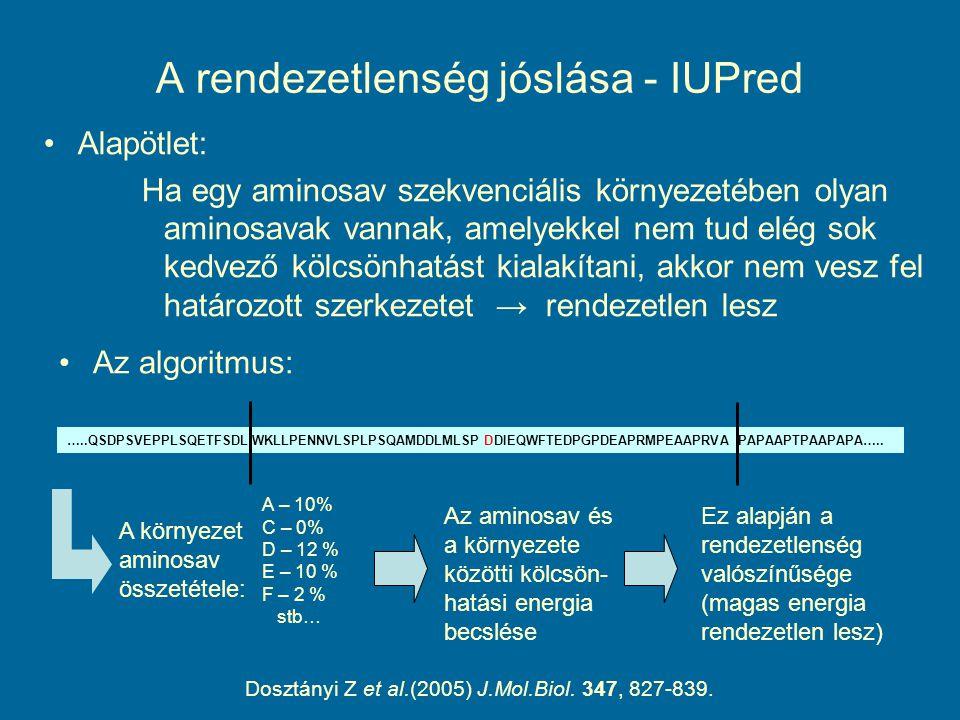 A rendezetlenség jóslása - IUPred Alapötlet: Ha egy aminosav szekvenciális környezetében olyan aminosavak vannak, amelyekkel nem tud elég sok kedvező kölcsönhatást kialakítani, akkor nem vesz fel határozott szerkezetet → rendezetlen lesz …..QSDPSVEPPLSQETFSDLWKLLPENNVLSPLPSQAMDDLMLSPDDIEQWFTEDPGPDEAPRMPEAAPRVAPAPAAPTPAAPAPA…..