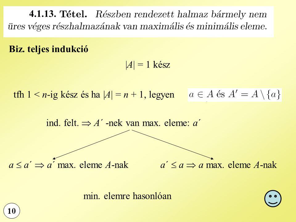 10 Biz. teljes indukció |A| = 1 kész tfh 1 < n-ig kész és ha |A| = n + 1, legyen ind. felt.  A´ -nek van max. eleme: a´ a  a´  a´ max. eleme A-naka