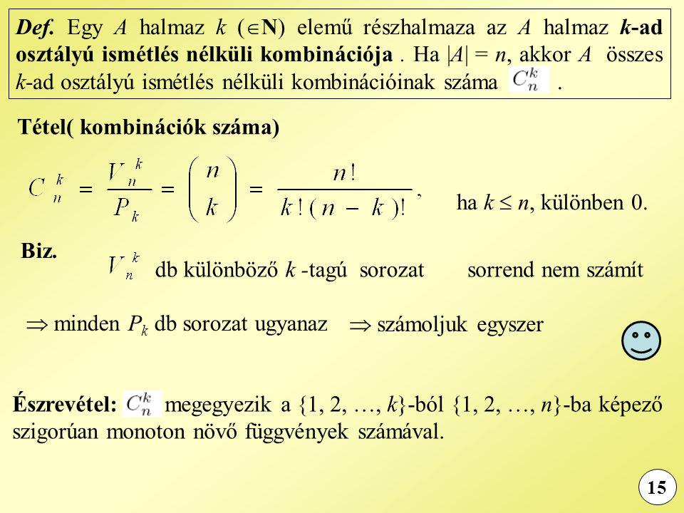 15 Biz. Def. Egy A halmaz k (  N) elemű részhalmaza az A halmaz k-ad osztályú ismétlés nélküli kombinációja. Ha |A| = n, akkor A összes k-ad osztályú