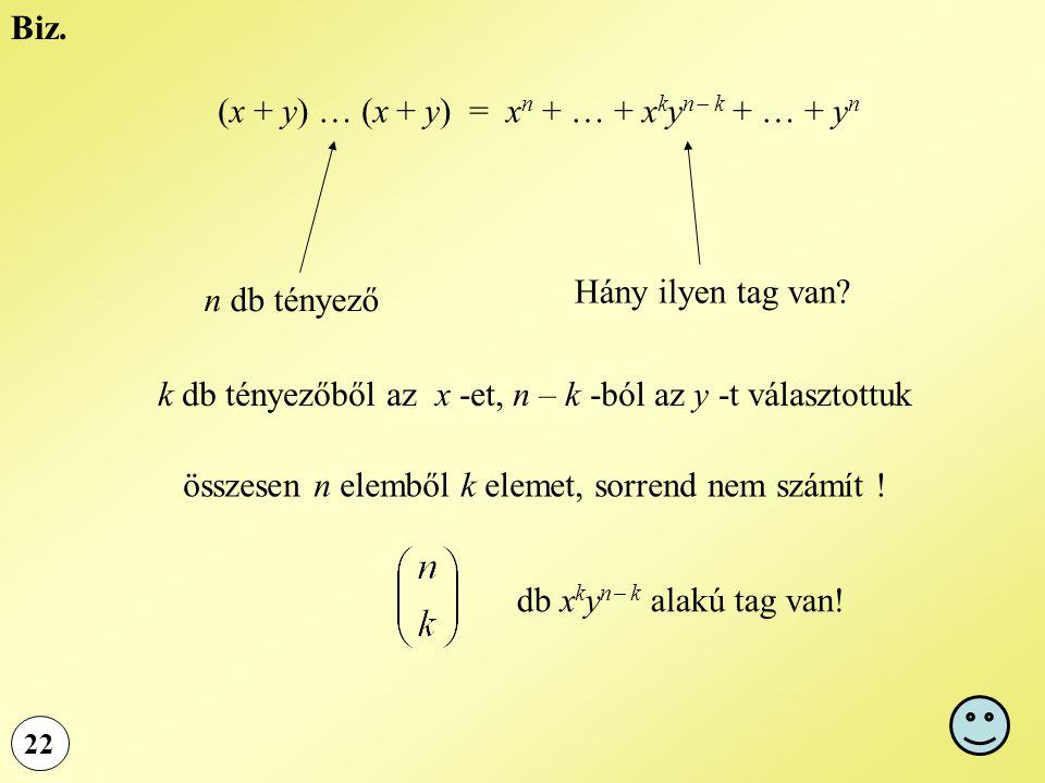 22 Biz. (x + y) … (x + y) = x n + … + x k y n  k + … + y n Hány ilyen tag van? n db tényező k db tényezőből az x -et, n – k -ból az y -t választottuk