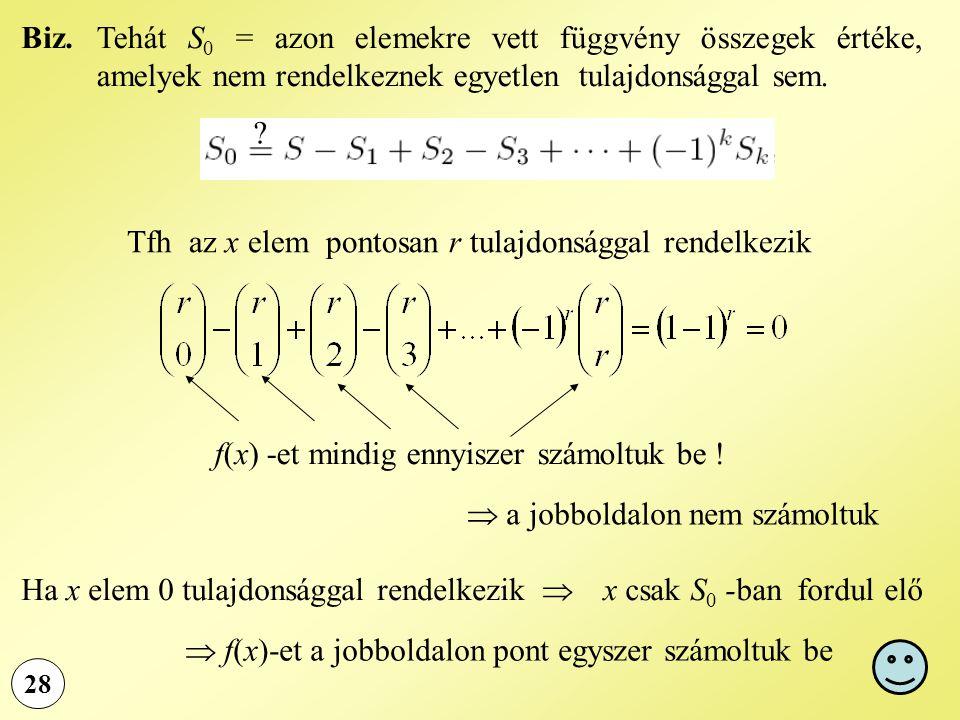 28 Tehát S 0 = azon elemekre vett függvény összegek értéke, amelyek nem rendelkeznek egyetlen tulajdonsággal sem. Biz. Tfh az x elem pontosan r tulajd