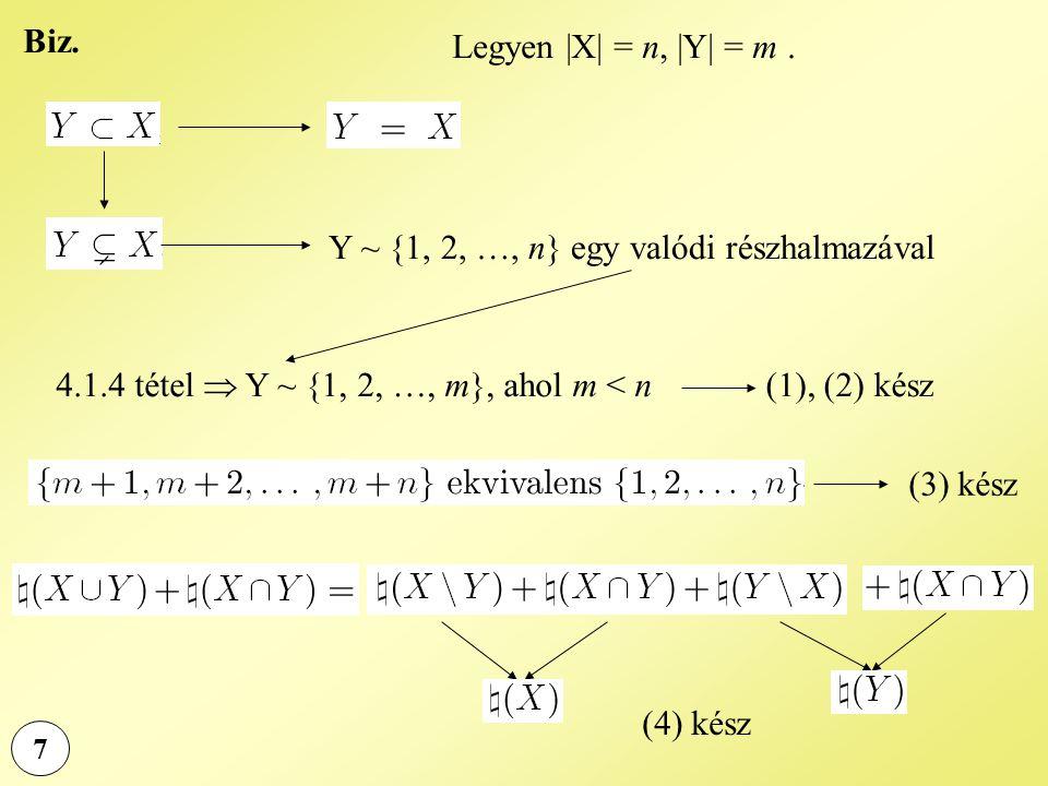 7 Biz. Legyen |X| = n, |Y| = m. Y ~ {1, 2, …, n} egy valódi részhalmazával 4.1.4 tétel  Y ~ {1, 2, …, m}, ahol m < n (1), (2) kész (3) kész (4) kész