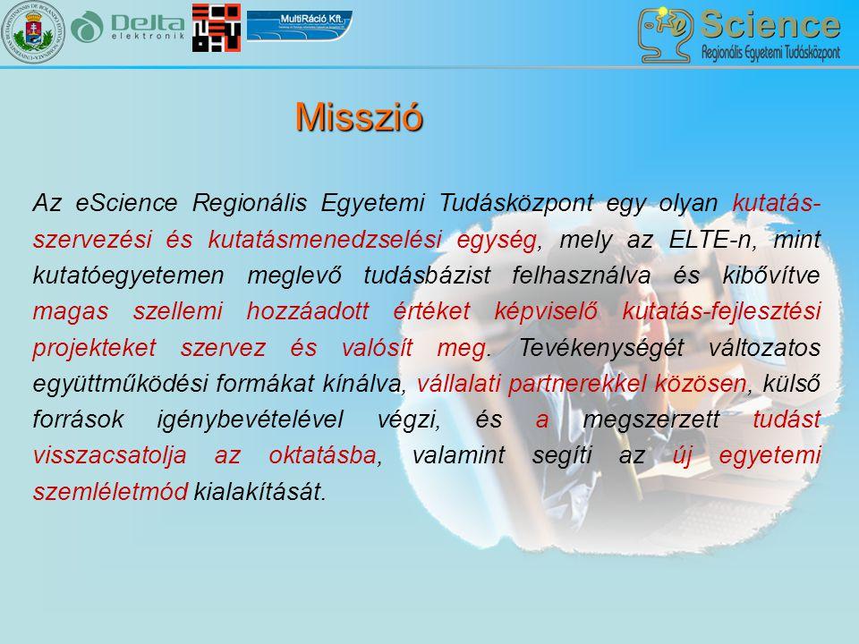 Az eScience Regionális Egyetemi Tudásközpont egy olyan kutatás- szervezési és kutatásmenedzselési egység, mely az ELTE-n, mint kutatóegyetemen meglevő tudásbázist felhasználva és kibővítve magas szellemi hozzáadott értéket képviselő kutatás-fejlesztési projekteket szervez és valósít meg.