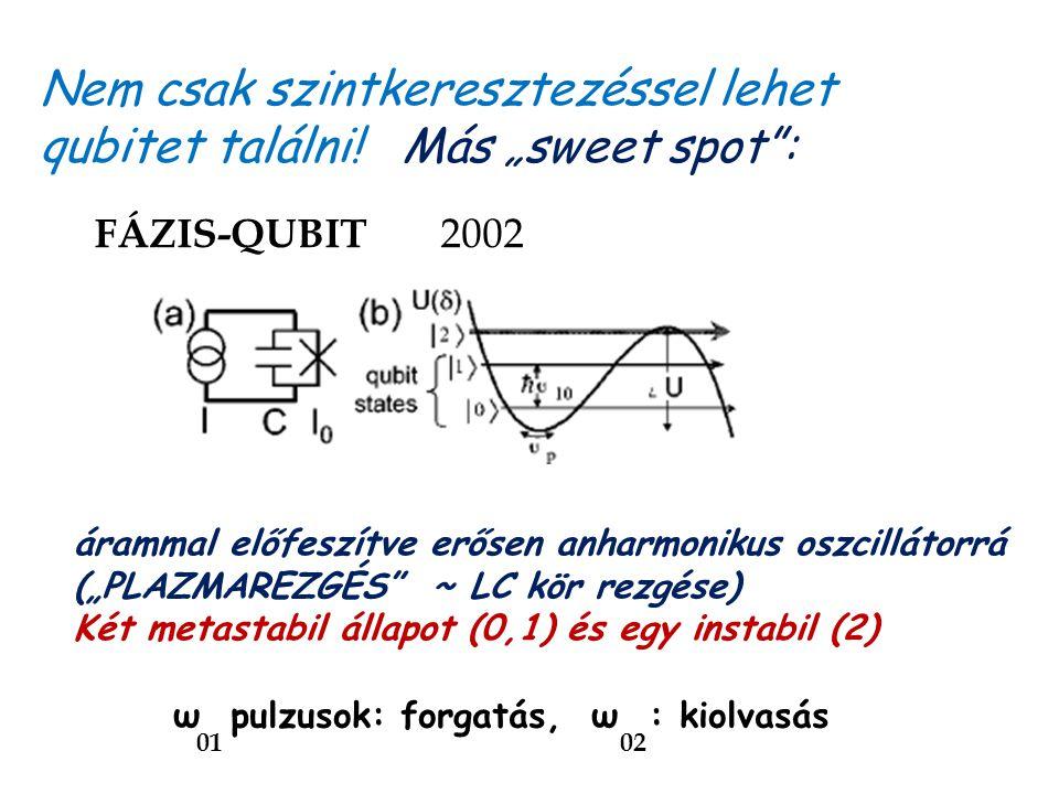 """FÁZIS-QUBIT 2002 ω pulzusok: forgatás, ω : kiolvasás 01 02 árammal előfeszítve erősen anharmonikus oszcillátorrá (""""PLAZMAREZGÉS"""" ~ LC kör rezgése) Két"""