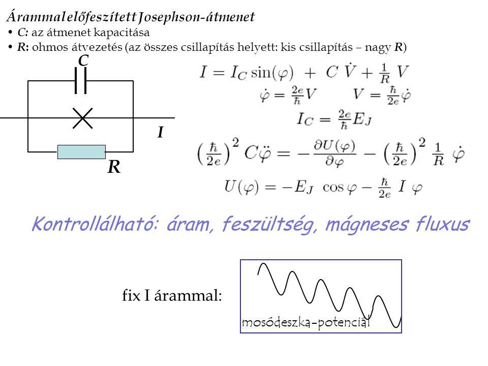 C R I Árammal előfeszített Josephson-átmenet C: az átmenet kapacitása R : ohmos átvezetés (az összes csillapítás helyett: kis csillapítás – nagy R ) K
