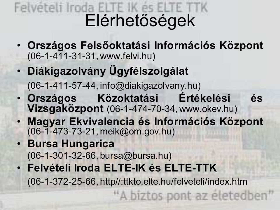 Elérhetőségek Országos Felsőoktatási Információs Központ (06-1-411-31-31, www.felvi.hu) Diákigazolvány Ügyfélszolgálat (06-1-411-57-44, info@diakigazo