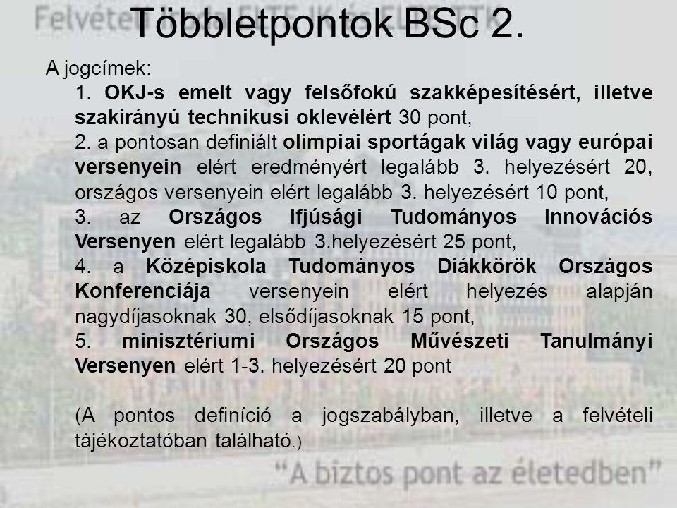 Többletpontok BSc 2. A jogcímek: 1.