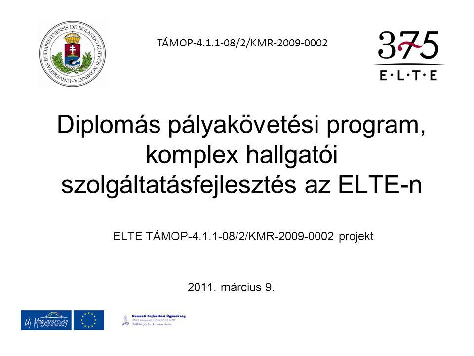 Diplomás pályakövetési program, komplex hallgatói szolgáltatásfejlesztés az ELTE-n ELTE TÁMOP-4.1.1-08/2/KMR-2009-0002 projekt 2011. március 9. TÁMOP-