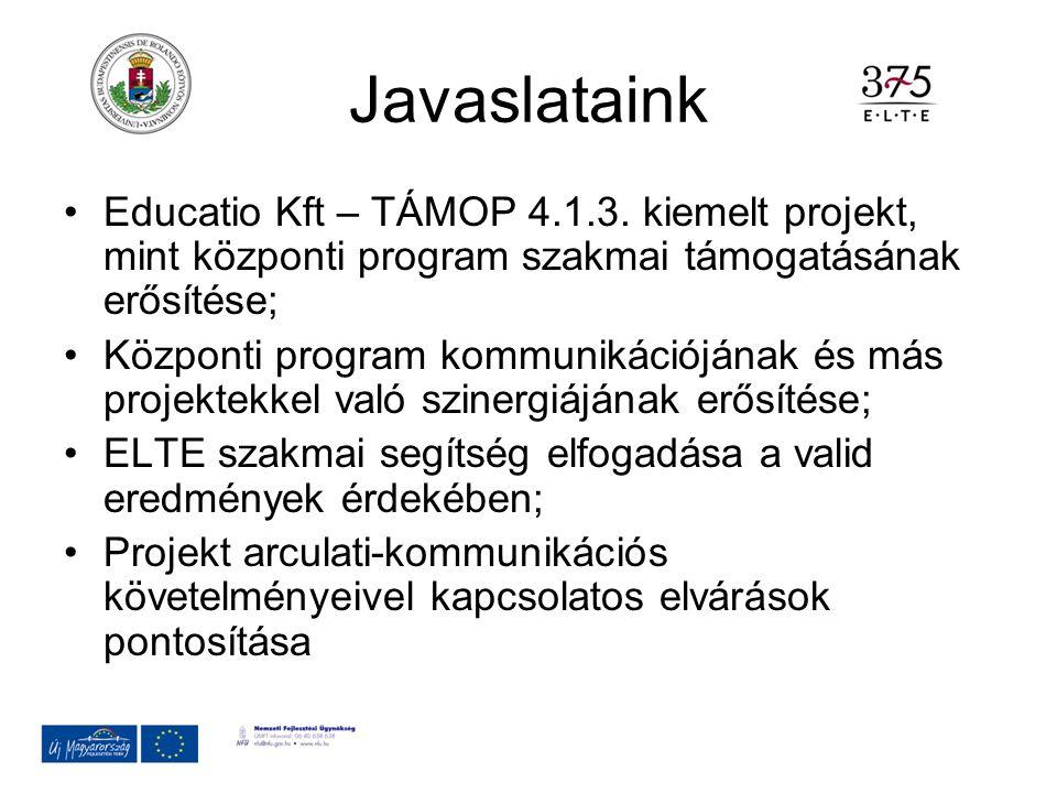 Javaslataink Educatio Kft – TÁMOP 4.1.3. kiemelt projekt, mint központi program szakmai támogatásának erősítése; Központi program kommunikációjának és