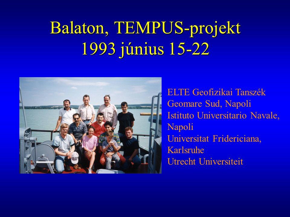 Balaton, TEMPUS-projekt 1993 június 15-22 ELTE Geofizikai Tanszék Geomare Sud, Napoli Istituto Universitario Navale, Napoli Universitat Fridericiana,