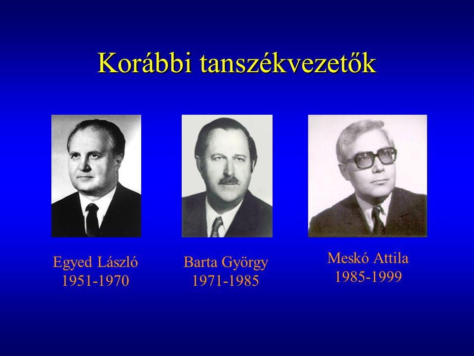 Korábbi tanszékvezetők Egyed László 1951-1970 Barta György 1971-1985 Meskó Attila 1985-1999
