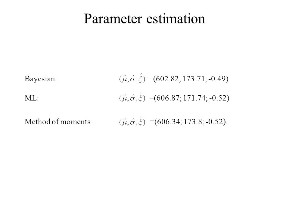 Parameter estimation Bayesian: =(602.82; 173.71; -0.49) ML: =(606.87; 171.74; -0.52) Method of moments =(606.34; 173.8; -0.52).