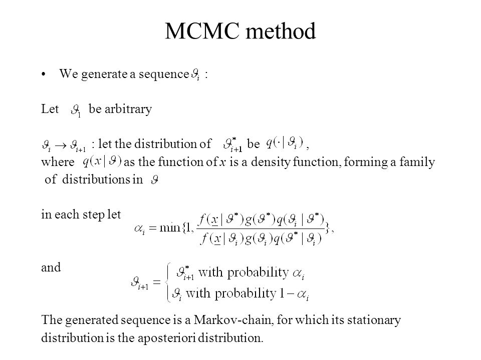Application III We consider data at Vásárosnamény and at Tivadar parallel (2-dimensional approach) The parameters of the MCMC algorithm: Initial value: Apriori distribution (Gaussian): ~N(500,200)*N(log 200, 2)*N(0,1)*N(500,200)*N(log 200, 2)*N(0,1) Distribution of the iterative step: