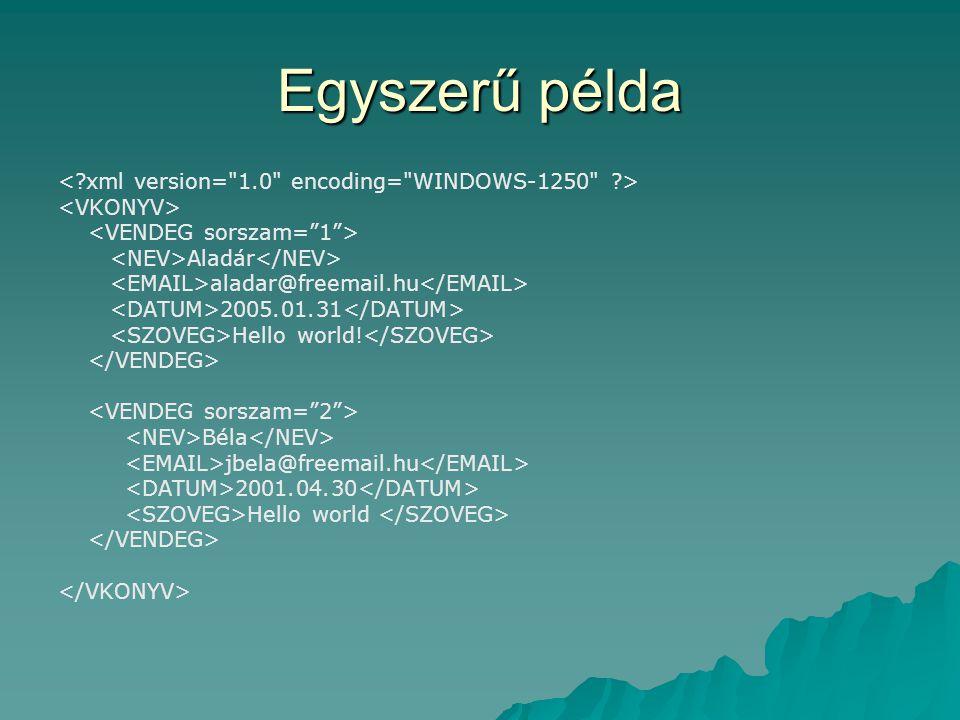 Egyszerű példa Aladár aladar@freemail.hu 2005.01.31 Hello world! Béla jbela@freemail.hu 2001.04.30 Hello world