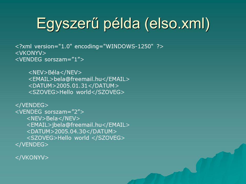 Egyszerű példa (elso.xml) Béla bela@freemail.hu 2005.01.31 Hello world Bela jbela@freemail.hu 2005.04.30 Hello world