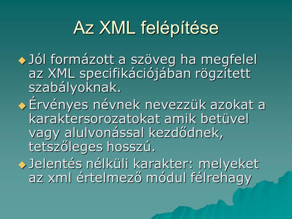 Az XML felépítése  Jól formázott a szöveg ha megfelel az XML specifikációjában rögzített szabályoknak.  Érvényes névnek nevezzük azokat a karakterso