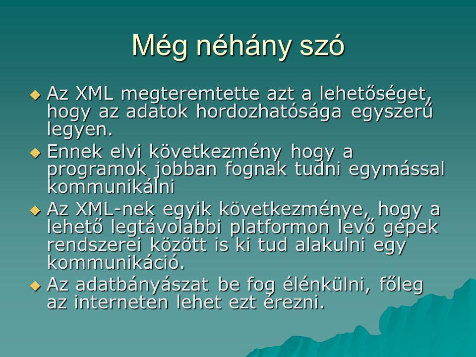 Még néhány szó  Az XML megteremtette azt a lehetőséget, hogy az adatok hordozhatósága egyszerű legyen.  Ennek elvi következmény hogy a programok job