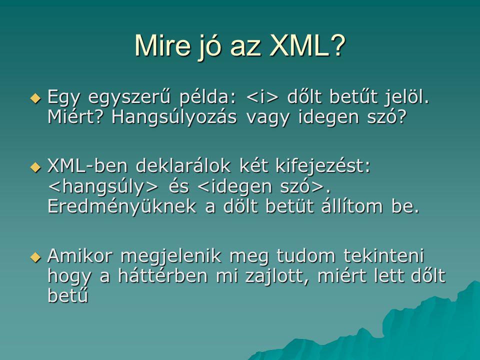 Mire jó az XML?  Egy egyszerű példa: dőlt betűt jelöl. Miért? Hangsúlyozás vagy idegen szó?  XML-ben deklarálok két kifejezést: és. Eredményüknek a