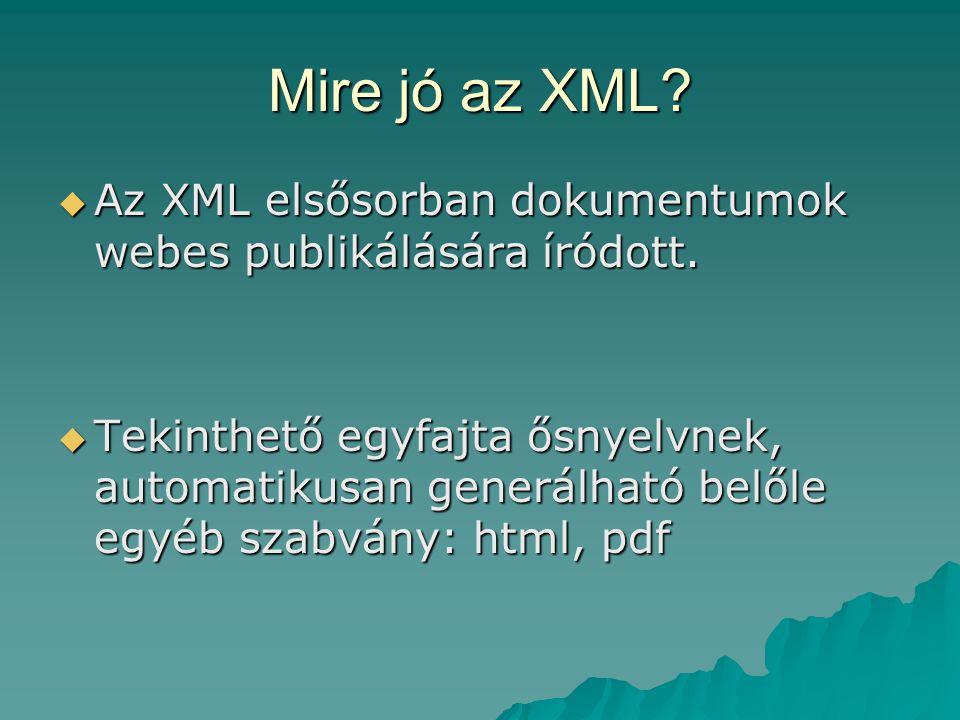 Az XML dokumentum felépítése  fejrész -XML fejléc -XML fejléc -dokumentum típus definíció -dokumentum típus definíció -XML-séma definíció -XML-séma definíció -megjegyzések -megjegyzések -feldolgozási utasítások(stíluslap definíció vagy egyéb) -feldolgozási utasítások(stíluslap definíció vagy egyéb) -jelentés néküli karakterek -jelentés néküli karakterek  test rész -dokumentum elem -dokumentum elem –további elemek –megjegyzések –feldolgozási utasítások –jelentés nélküli karakterek -jelentés néklüli karakterek -jelentés néklüli karakterek -megjegyzések -megjegyzések -feldolgozási utasítások -feldolgozási utasítások