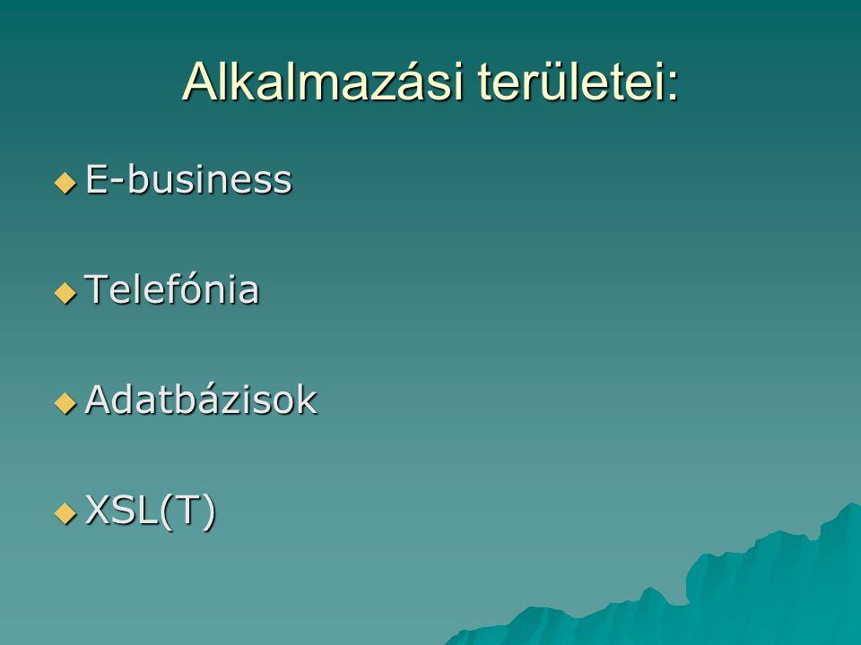 Alkalmazási területei:  E-business  Telefónia  Adatbázisok  XSL(T)