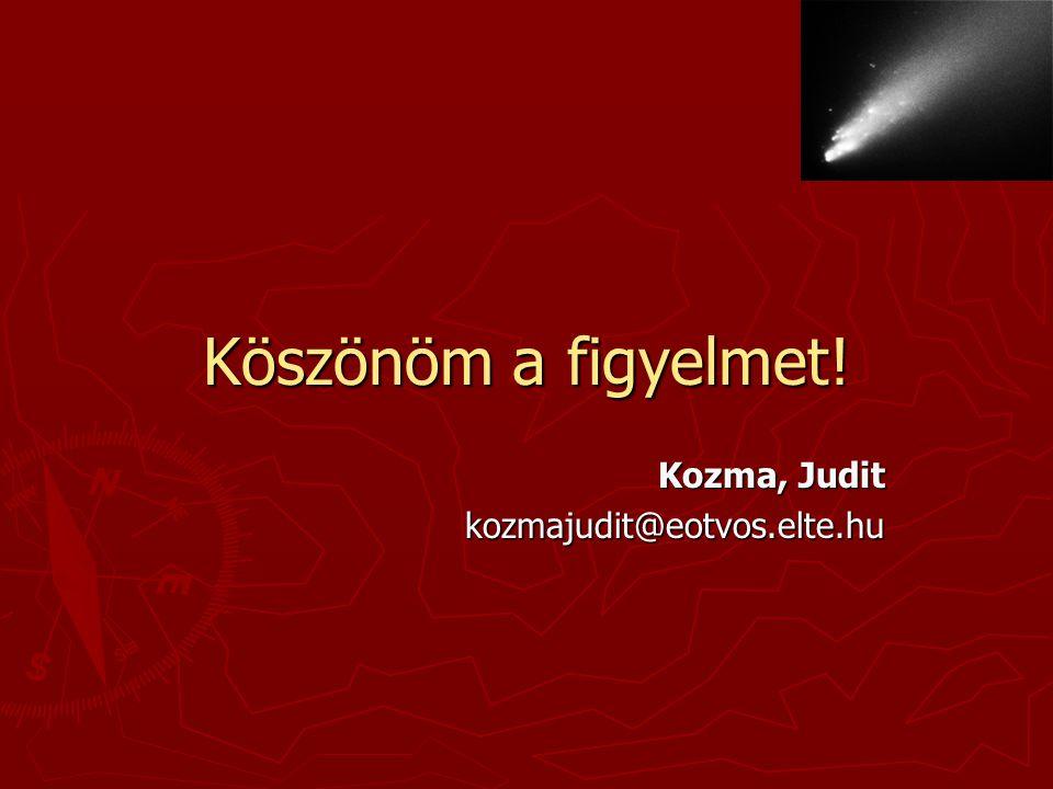 Köszönöm a figyelmet! Kozma, Judit kozmajudit@eotvos.elte.hu