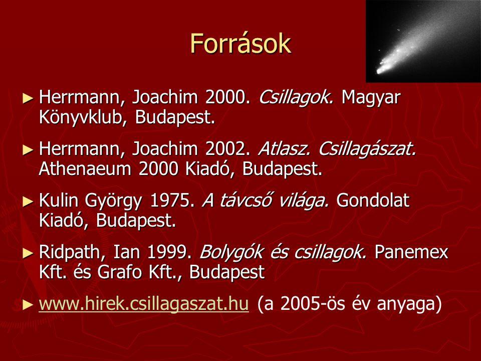 Források ► Herrmann, Joachim 2000. Csillagok. Magyar Könyvklub, Budapest. ► Herrmann, Joachim 2002. Atlasz. Csillagászat. Athenaeum 2000 Kiadó, Budape