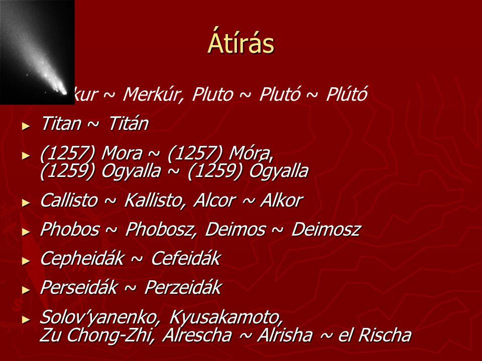 Átírás ► ► Merkur ~ Merkúr, Pluto ~ Plutó ~ Plútó ► Titan ~ Titán ► (1257) Mora ~ (1257) Móra, (1259) Ogyalla ~ (1259) Ógyalla ► Callisto ~ Kallisto,
