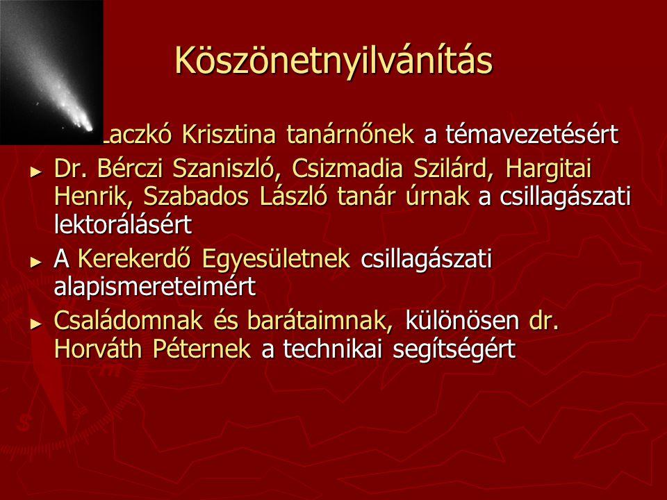 Köszönetnyilvánítás ► Dr. Laczkó Krisztina tanárnőnek a témavezetésért ► Dr. Bérczi Szaniszló, Csizmadia Szilárd, Hargitai Henrik, Szabados László tan