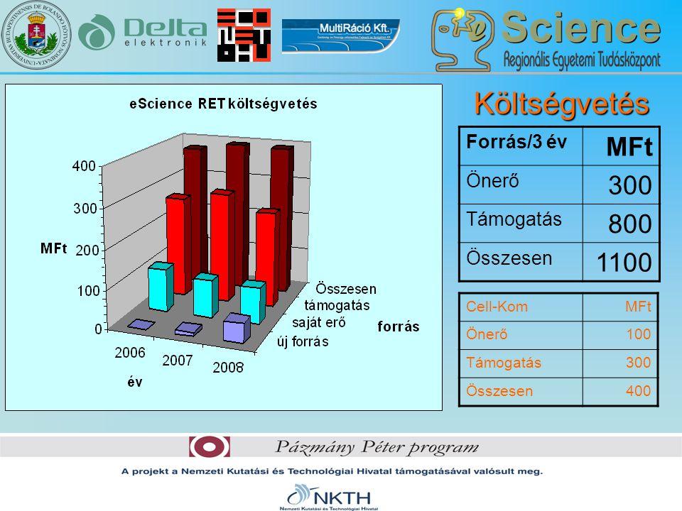 Költségvetés Forrás/3 év MFt Önerő 300 Támogatás 800 Összesen 1100 Cell-KomMFt Önerő100 Támogatás300 Összesen400