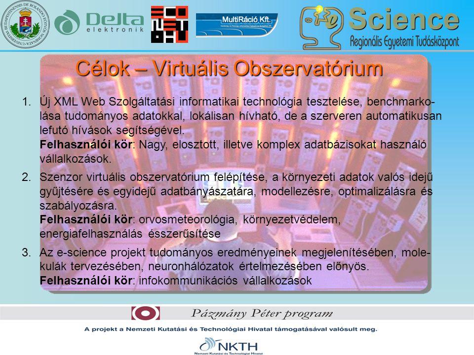Célok – Virtuális Obszervatórium 1.Új XML Web Szolgáltatási informatikai technológia tesztelése, benchmarko- lása tudományos adatokkal, lokálisan hívható, de a szerveren automatikusan lefutó hívások segítségével.